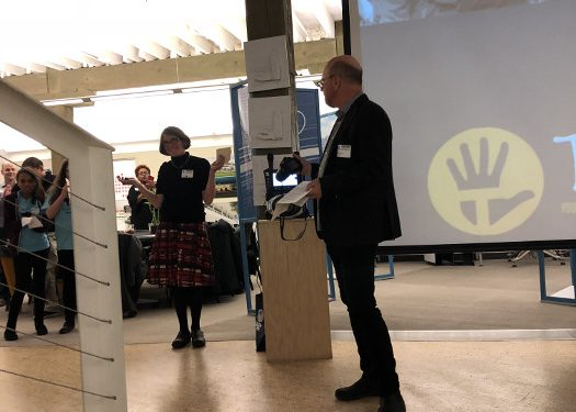 Helen Slade, Executive Director, and Mike Newman, Board chair speaking at BUILD Territory