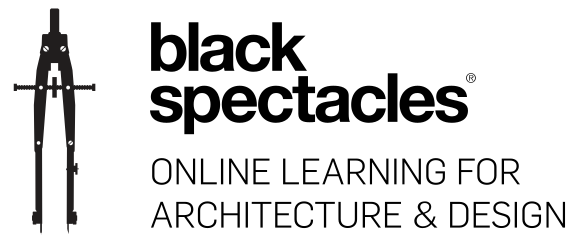 Black Spectacles logo featuring silhouette of architect's compass and the tag line online learning for architecture & design